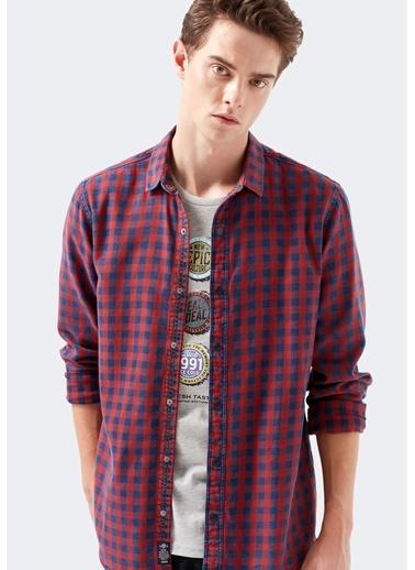 Mavi Erkek  Kareli Gömlek 021679-32336 Kırmızı